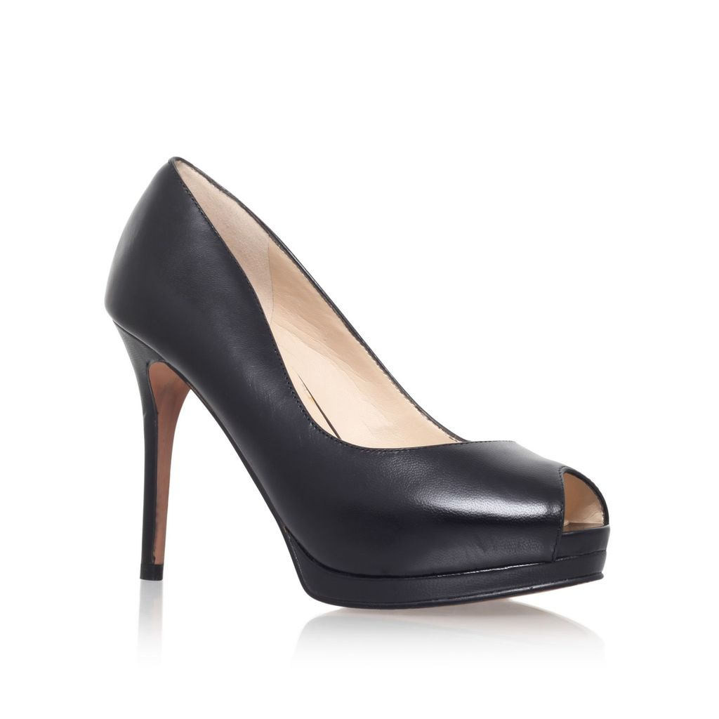 Firstbase Peep Toe Court Shoes, Black - predominant colour: black; occasions: evening, occasion; material: leather; heel: stiletto; toe: open toe/peeptoe; style: courts; finish: plain; pattern: plain; heel height: very high; shoe detail: platform; season: a/w 2015; wardrobe: event