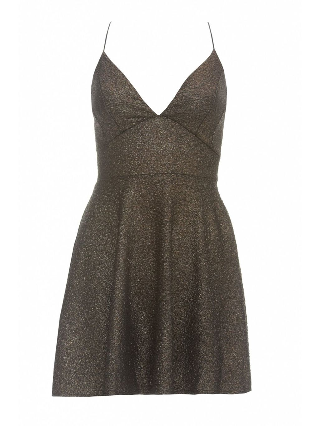 Sleeveless Metallic Skater Dress, Bronze - style: empire line; length: mini; neckline: low v-neck; fit: empire; pattern: plain; sleeve style: sleeveless; predominant colour: gold; occasions: evening; back detail: crossover; sleeve length: sleeveless; pattern type: fabric; texture group: jersey - stretchy/drapey; season: a/w 2015