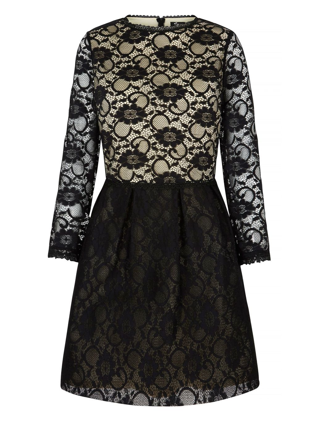 Lace Contrast Long Sleeve Dress, Black - predominant colour: black; occasions: evening; length: just above the knee; fit: fitted at waist & bust; style: fit & flare; fibres: polyester/polyamide - stretch; neckline: crew; sleeve length: 3/4 length; sleeve style: standard; texture group: lace; pattern type: fabric; pattern size: standard; pattern: patterned/print; embellishment: lace; season: a/w 2015
