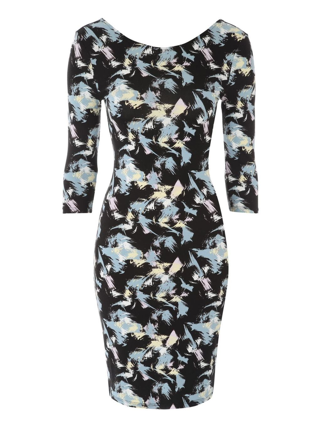 Brush Stroke Jersey Dress, Black - length: mini; fit: tight; pattern: plain; style: bodycon; secondary colour: pale blue; predominant colour: black; occasions: evening; neckline: scoop; fibres: polyester/polyamide - stretch; sleeve length: 3/4 length; sleeve style: standard; pattern type: fabric; texture group: jersey - stretchy/drapey; multicoloured: multicoloured; season: a/w 2015