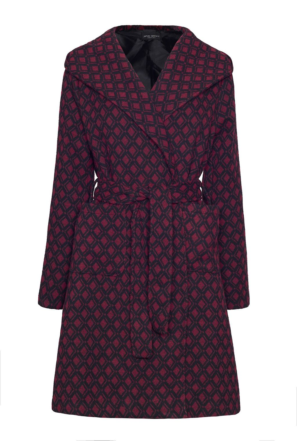 Pattern Coat With Hood, Red - collar: wide lapels; style: wrap around; predominant colour: purple; occasions: casual, creative work; fit: tailored/fitted; fibres: wool - mix; length: below the knee; waist detail: belted waist/tie at waist/drawstring; sleeve length: long sleeve; sleeve style: standard; collar break: medium; pattern type: fabric; pattern: patterned/print; texture group: woven bulky/heavy; pattern size: big & busy (top); season: a/w 2015