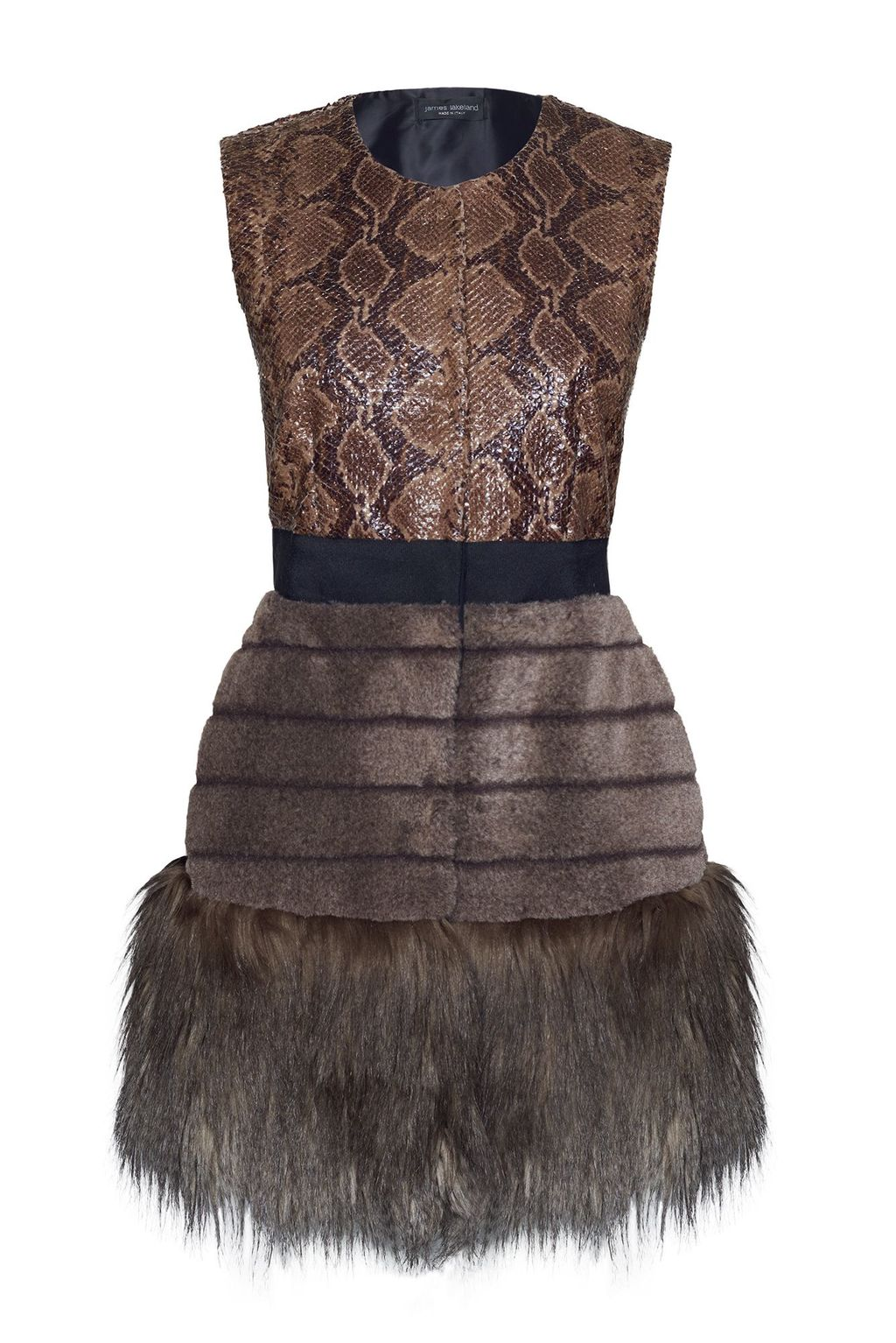 Faux Fur Gilet, Black Multi - sleeve style: sleeveless; style: gilet; collar: round collar/collarless; predominant colour: chocolate brown; secondary colour: tan; occasions: evening; fit: tailored/fitted; fibres: polyester/polyamide - mix; length: mid thigh; sleeve length: sleeveless; texture group: fur; collar break: high; pattern type: fabric; pattern size: light/subtle; pattern: patterned/print; embellishment: fur; season: a/w 2015; wardrobe: event; embellishment location: hip