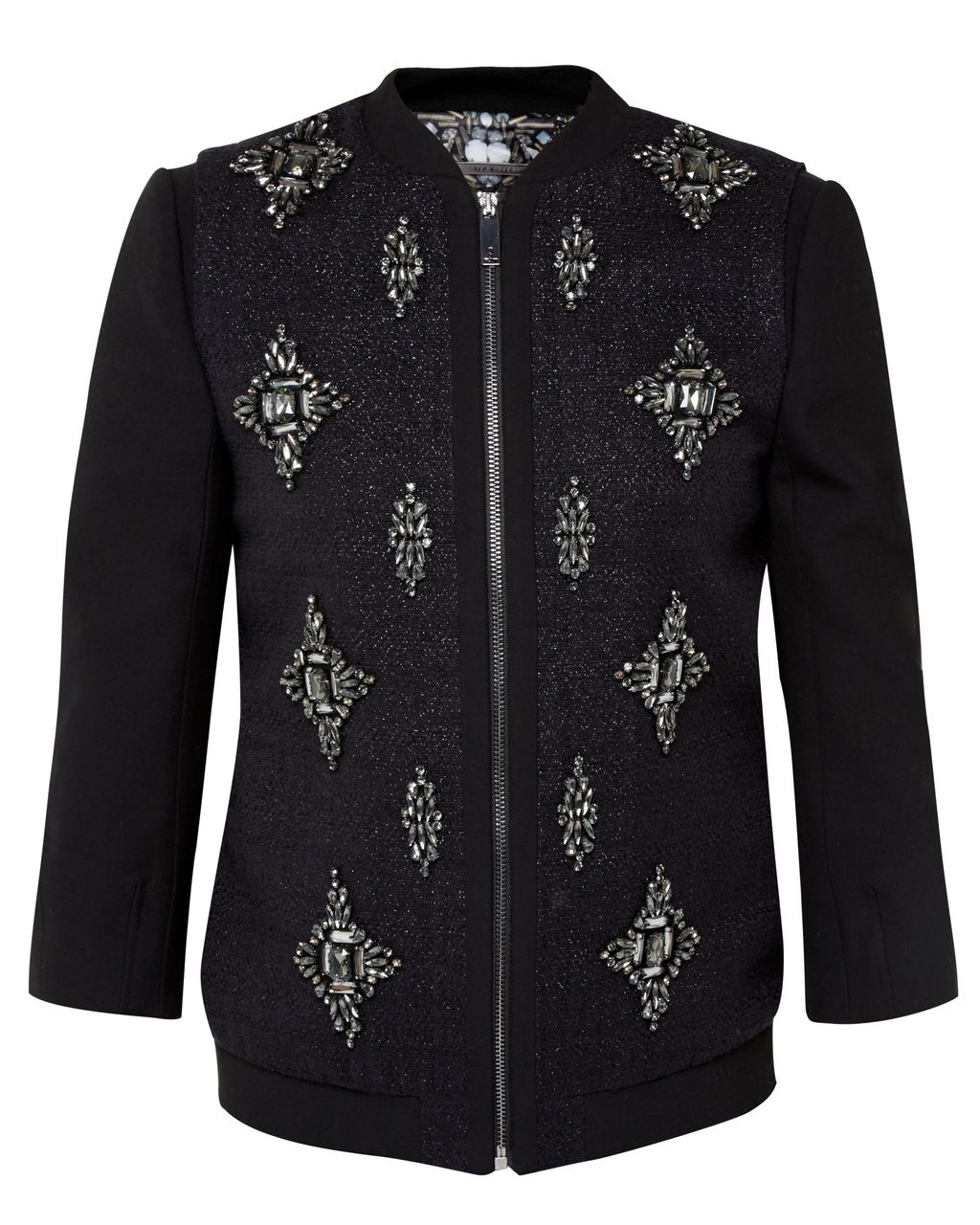 Banwell Embellished Bomber Jacket, Black - bust detail: added detail/embellishment at bust; collar: high neck; fit: slim fit; style: bomber; secondary colour: silver; predominant colour: black; length: standard; sleeve length: 3/4 length; sleeve style: standard; collar break: high; pattern type: fabric; pattern: patterned/print; texture group: other - light to midweight; embellishment: crystals/glass; fibres: viscose/rayon - mix; occasions: creative work; season: a/w 2015