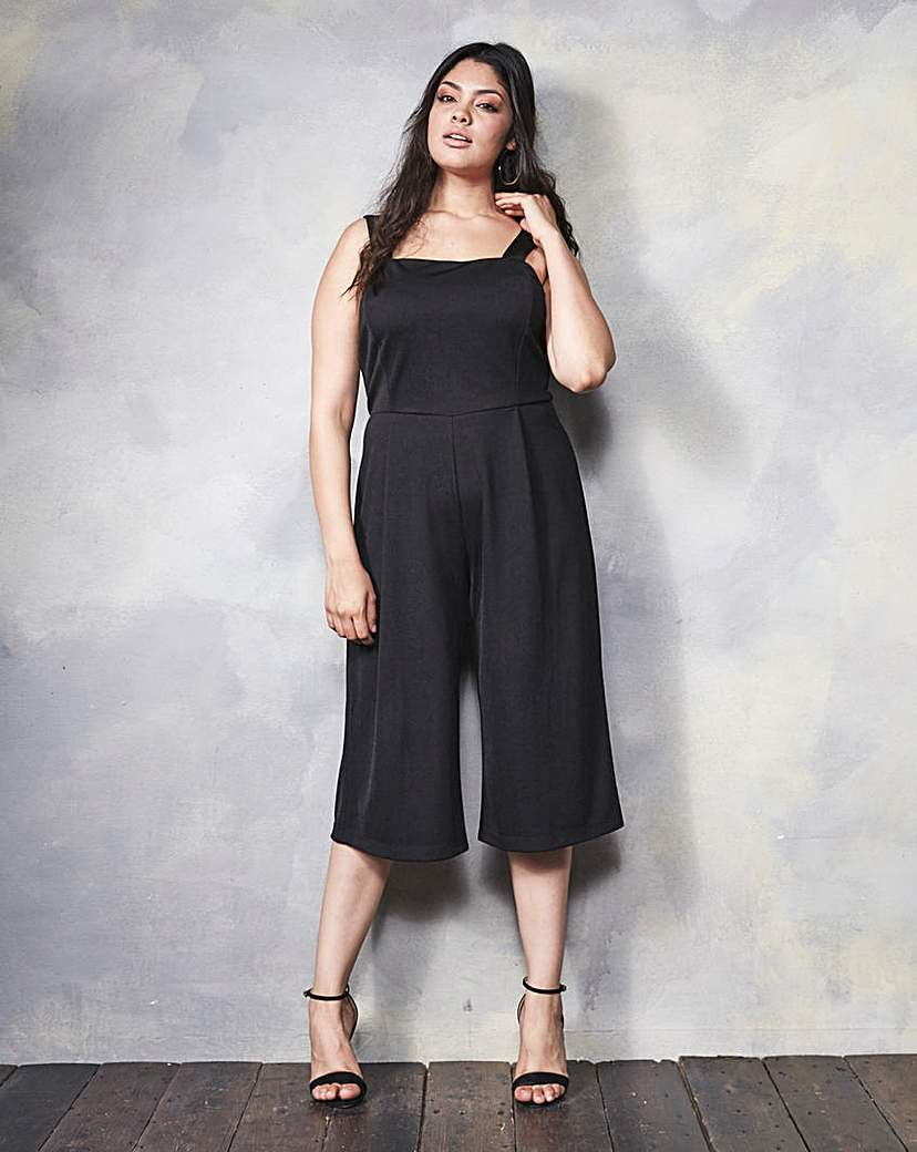 Culotte Jumpsuit - fit: tailored/fitted; pattern: plain; sleeve style: sleeveless; waist detail: fitted waist; predominant colour: black; length: calf length; fibres: polyester/polyamide - stretch; sleeve length: sleeveless; style: jumpsuit; neckline: medium square neck; pattern type: fabric; texture group: other - light to midweight; occasions: creative work; season: a/w 2015; wardrobe: highlight