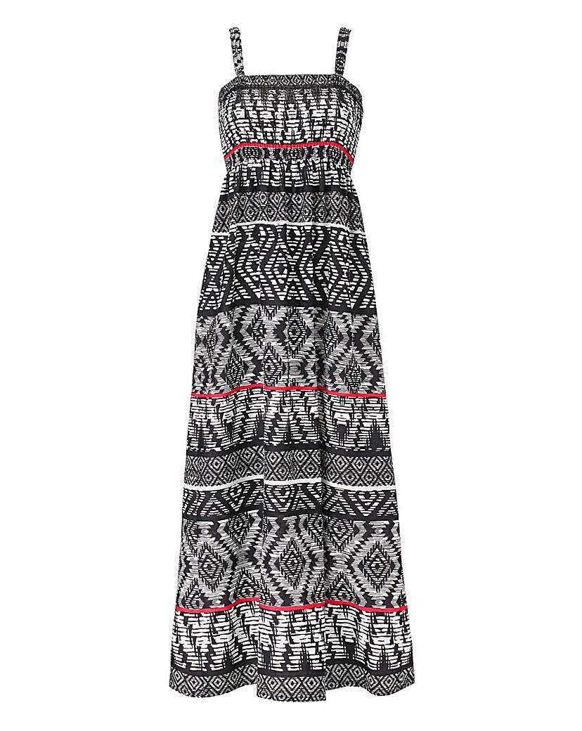 Tribal Print Shirred Maxi Dress 52in - fit: empire; sleeve style: sleeveless; style: maxi dress; length: ankle length; secondary colour: white; predominant colour: black; occasions: casual, holiday; fibres: cotton - 100%; hip detail: soft pleats at hip/draping at hip/flared at hip; sleeve length: sleeveless; texture group: cotton feel fabrics; neckline: low square neck; pattern type: fabric; pattern: patterned/print; season: a/w 2015