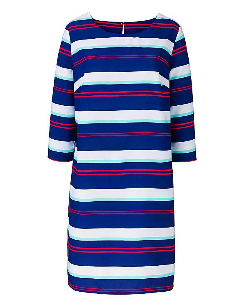 Navy Stripe Print Tunic Dress - style: tunic; neckline: round neck; pattern: horizontal stripes; secondary colour: white; predominant colour: navy; occasions: casual, creative work; length: on the knee; fit: straight cut; fibres: polyester/polyamide - 100%; sleeve length: 3/4 length; sleeve style: standard; pattern type: fabric; pattern size: big & busy; texture group: woven light midweight; multicoloured: multicoloured; season: a/w 2015; wardrobe: basic