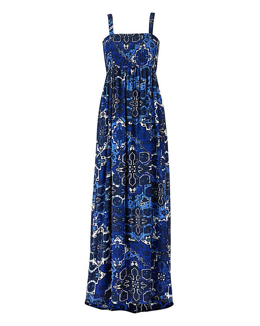 Navy Tile Print Shirred Maxi Dress - fit: empire; sleeve style: sleeveless; style: maxi dress; length: ankle length; predominant colour: royal blue; occasions: casual, holiday; fibres: polyester/polyamide - 100%; sleeve length: sleeveless; neckline: low square neck; pattern type: fabric; pattern size: standard; pattern: patterned/print; texture group: woven light midweight; season: a/w 2015; wardrobe: highlight