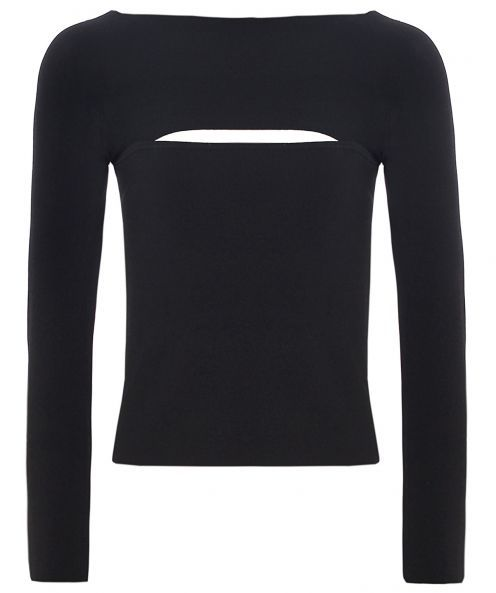 Long Sleeve Bandeau Top - neckline: slash/boat neckline; pattern: plain; bust detail: added detail/embellishment at bust; style: t-shirt; predominant colour: black; occasions: casual; length: standard; fibres: cotton - stretch; fit: body skimming; sleeve length: long sleeve; sleeve style: standard; texture group: jersey - clingy; pattern type: fabric; season: a/w 2015