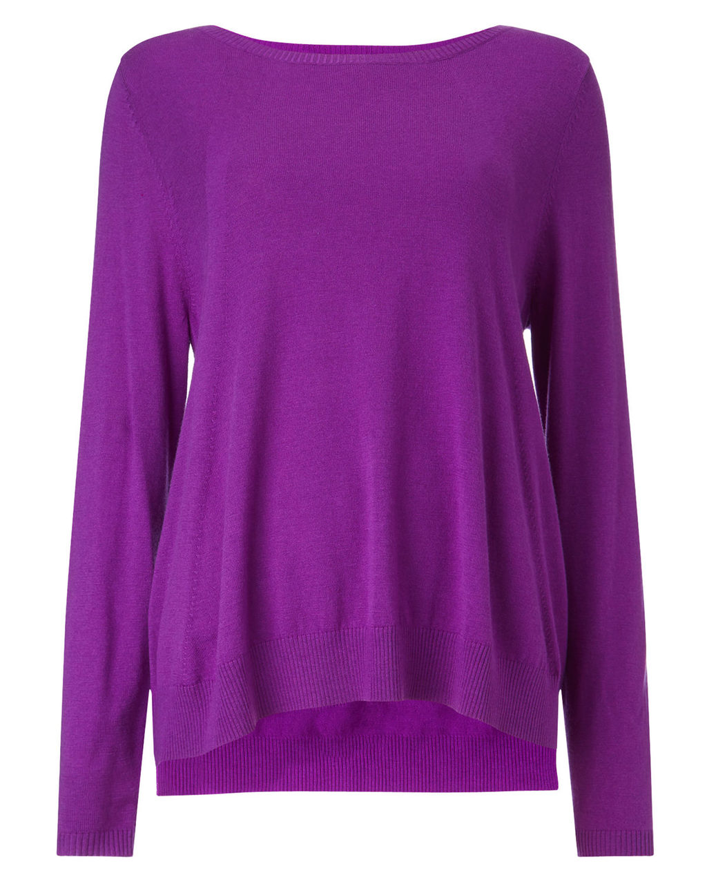 Esta Swing Knit - neckline: slash/boat neckline; pattern: plain; style: standard; predominant colour: purple; occasions: casual, creative work; length: standard; fibres: wool - 100%; fit: loose; sleeve length: long sleeve; sleeve style: standard; texture group: knits/crochet; pattern type: knitted - fine stitch; season: a/w 2015; wardrobe: highlight