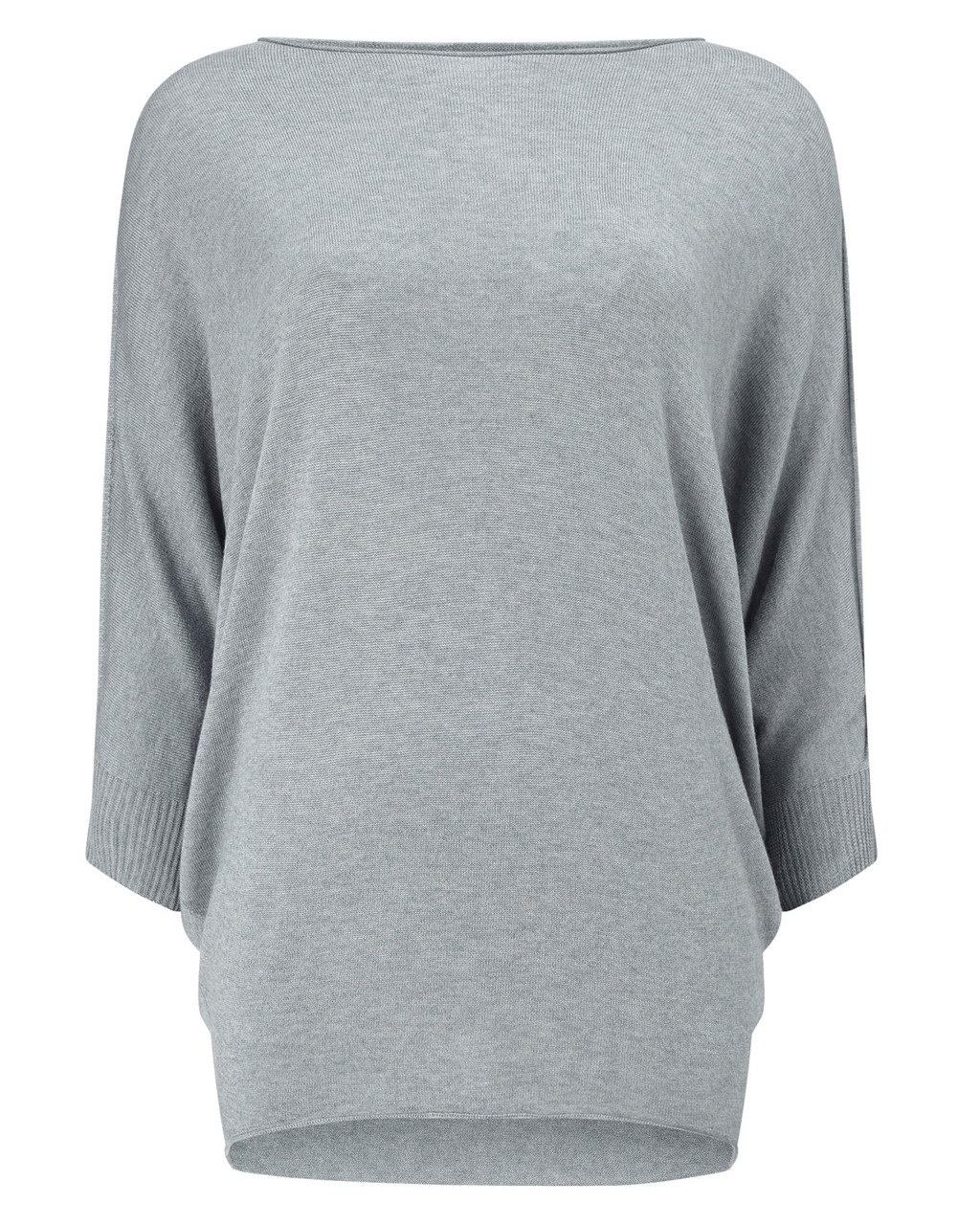 Becca Batwing Knit - neckline: slash/boat neckline; sleeve style: dolman/batwing; length: below the bottom; style: standard; predominant colour: mid grey; occasions: casual; fibres: wool - mix; fit: loose; sleeve length: 3/4 length; texture group: knits/crochet; pattern type: knitted - fine stitch; pattern: marl; season: a/w 2015