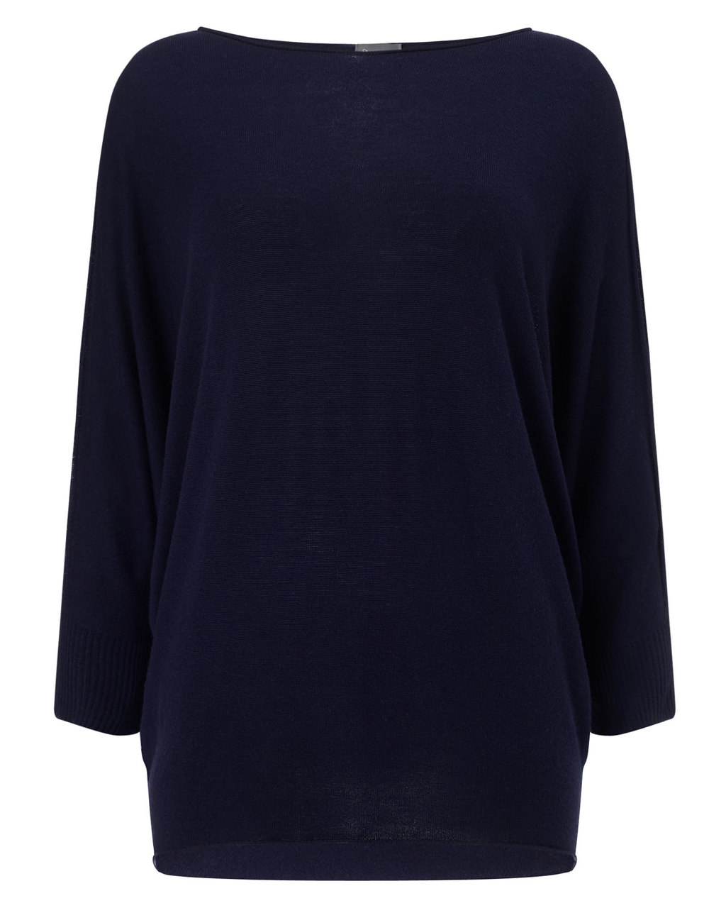 Becca Batwing Knit - neckline: slash/boat neckline; sleeve style: dolman/batwing; pattern: plain; length: below the bottom; style: standard; predominant colour: navy; occasions: casual, creative work; fibres: cotton - mix; fit: loose; sleeve length: long sleeve; texture group: knits/crochet; pattern type: knitted - fine stitch; season: a/w 2015; wardrobe: basic