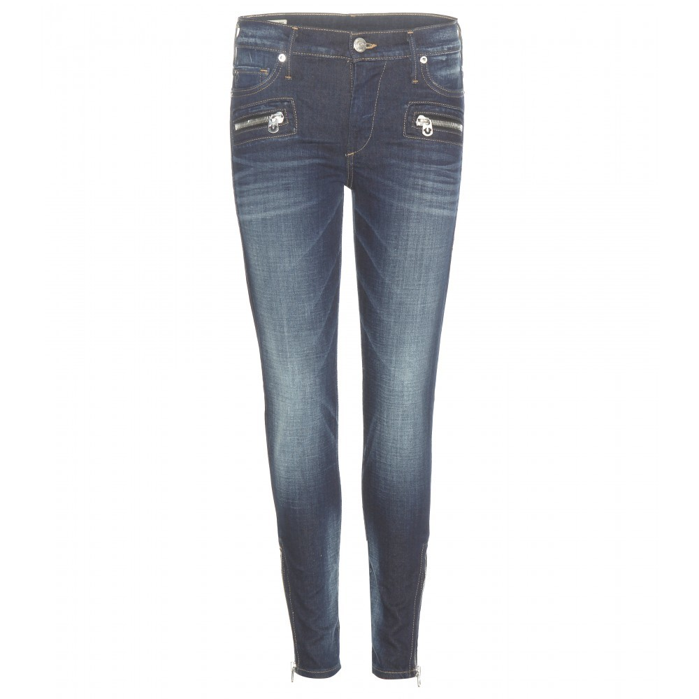 Halle Mid Rise Super Skinny Cropped Jeans - style: skinny leg; length: standard; pattern: plain; pocket detail: traditional 5 pocket; waist: mid/regular rise; predominant colour: navy; occasions: casual; fibres: cotton - mix; jeans detail: shading down centre of thigh; texture group: denim; pattern type: fabric; embellishment: zips; season: a/w 2015; wardrobe: basic