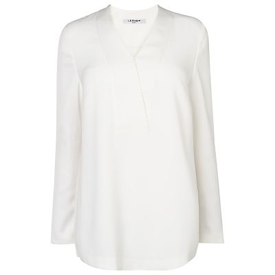 Maisie Crossover Blouse, Cream - neckline: v-neck; pattern: plain; length: below the bottom; style: blouse; predominant colour: white; occasions: casual, creative work; fibres: polyester/polyamide - 100%; fit: body skimming; sleeve length: long sleeve; sleeve style: standard; texture group: crepes; pattern type: fabric; season: a/w 2015