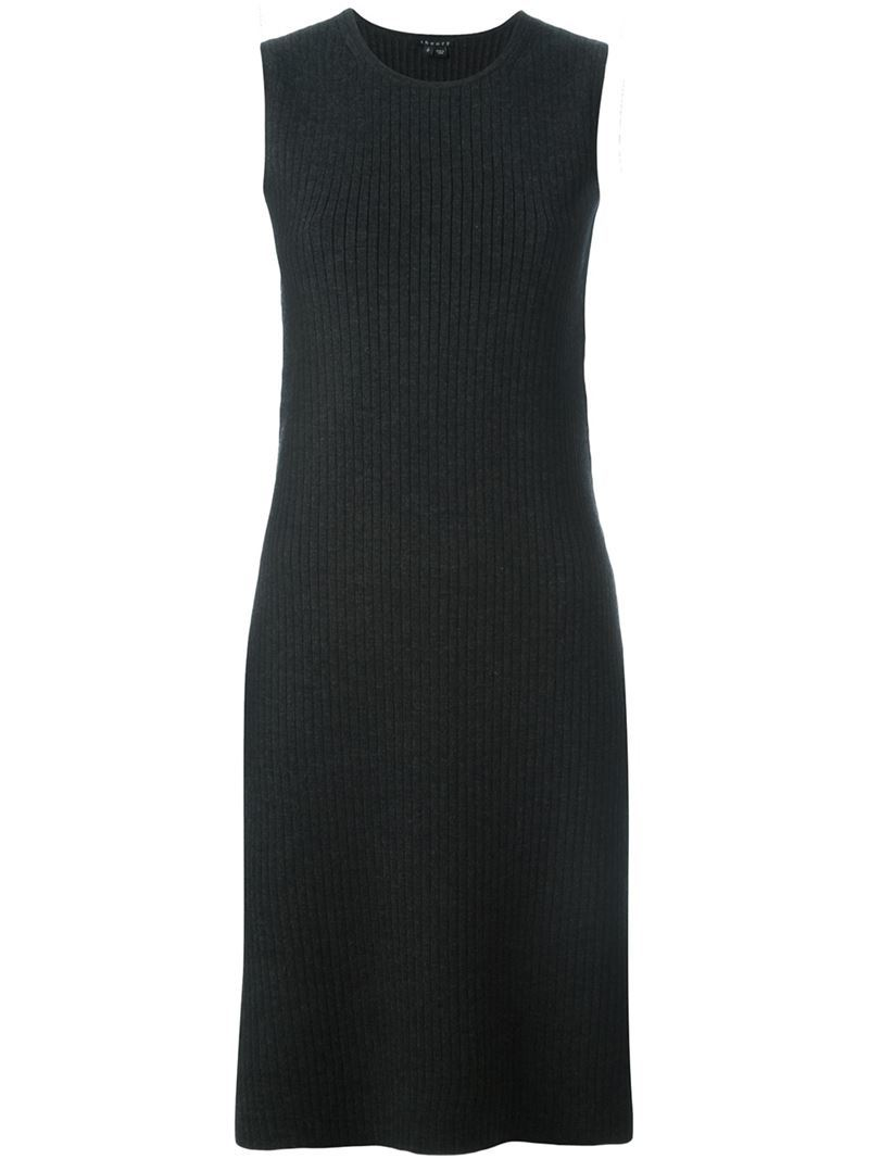 Knitted Dress - style: shift; length: below the knee; pattern: plain; sleeve style: sleeveless; waist detail: belted waist/tie at waist/drawstring; predominant colour: black; occasions: casual, creative work; fit: body skimming; fibres: wool - stretch; neckline: crew; sleeve length: sleeveless; texture group: knits/crochet; pattern type: fabric; season: a/w 2015