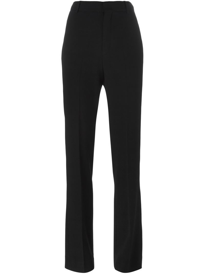 Straight Leg Trousers, Women's, Black - length: standard; pattern: plain; waist: high rise; predominant colour: black; occasions: work; fibres: wool - mix; fit: straight leg; pattern type: fabric; texture group: woven light midweight; style: standard; season: a/w 2015