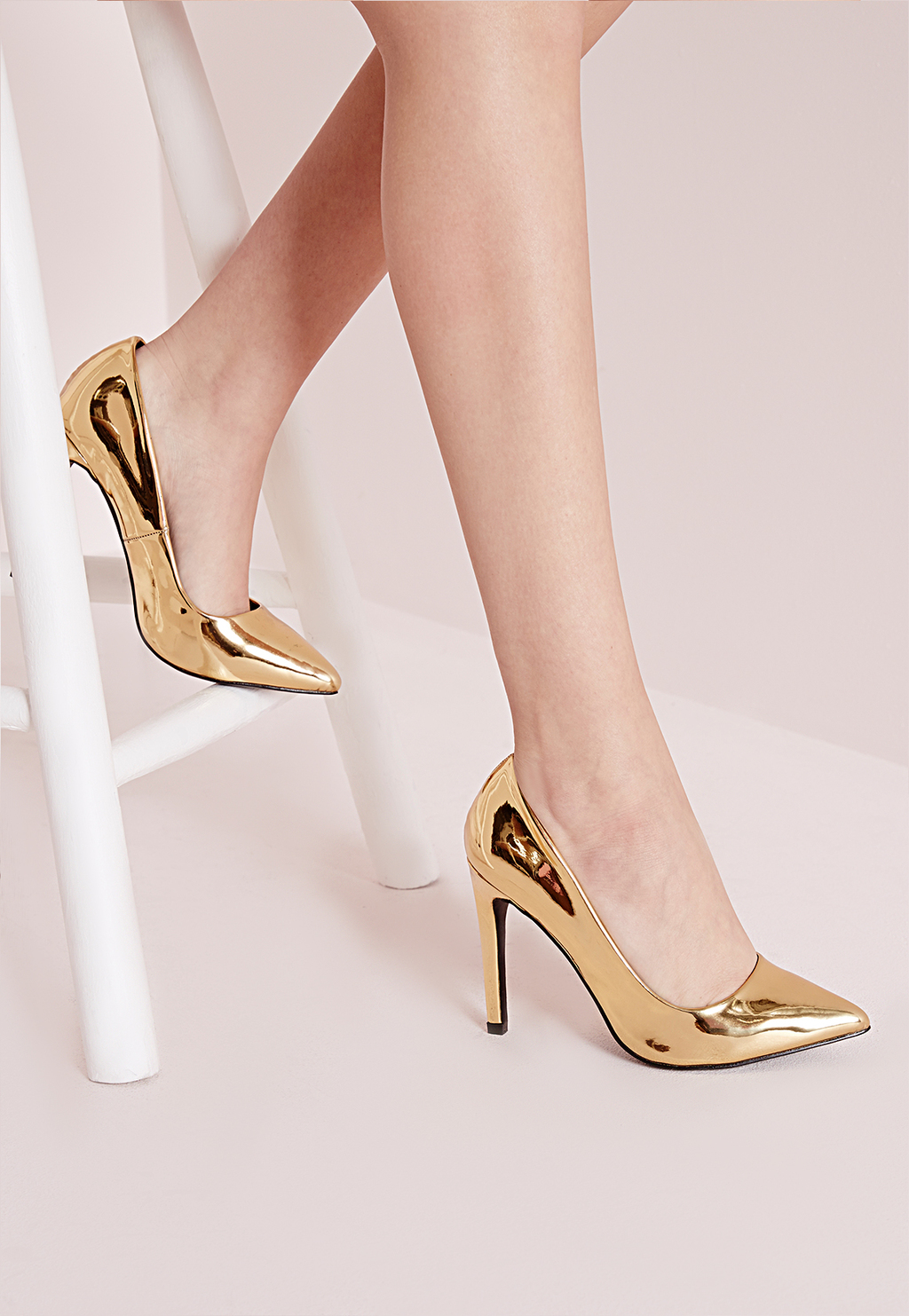 Metallic Court Shoes Gold, Gold - predominant colour: gold; occasions: evening, occasion; material: faux leather; heel height: high; heel: stiletto; toe: pointed toe; style: courts; finish: metallic; pattern: plain; season: a/w 2015; wardrobe: event