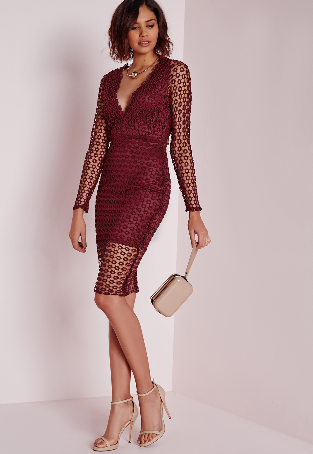 Circle Lace Midi Dress Burgundy, Burgundy - style: shift; neckline: low v-neck; predominant colour: burgundy; occasions: evening, occasion; length: just above the knee; fit: body skimming; fibres: polyester/polyamide - stretch; sleeve length: long sleeve; sleeve style: standard; texture group: lace; pattern type: fabric; pattern size: standard; pattern: patterned/print; season: a/w 2015; wardrobe: event