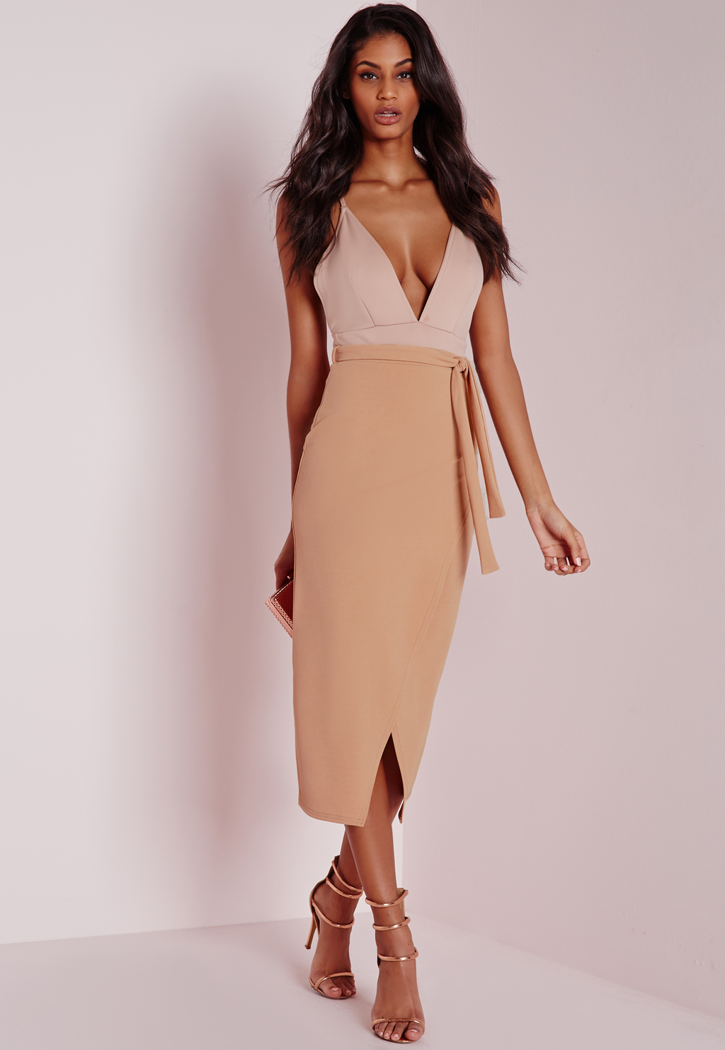 Tie Wrap Front Longline Midi Skirt Camel, Beige - length: calf length; pattern: plain; style: wrap/faux wrap; fit: tailored/fitted; waist: high rise; waist detail: belted waist/tie at waist/drawstring; predominant colour: camel; occasions: evening, occasion; fibres: polyester/polyamide - stretch; texture group: jersey - clingy; pattern type: fabric; season: a/w 2015; wardrobe: event