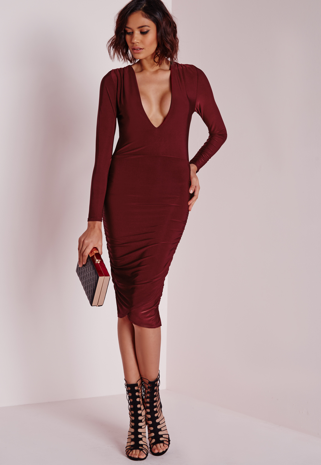 Slinky Plunge Long Sleeve Midi Dress Burgundy, Burgundy - length: below the knee; neckline: plunge; fit: tight; pattern: plain; style: bodycon; predominant colour: burgundy; occasions: evening; fibres: polyester/polyamide - stretch; sleeve length: long sleeve; sleeve style: standard; texture group: jersey - clingy; pattern type: fabric; season: a/w 2015