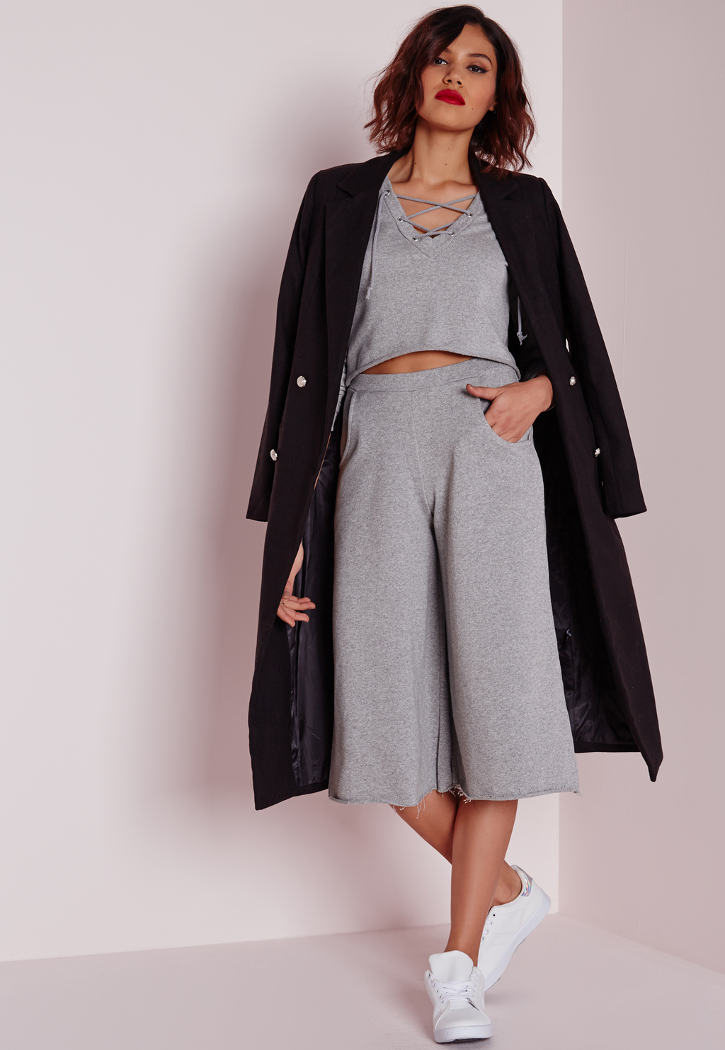 Loop Back Jersey Culottes Grey, Grey - pattern: plain; waist: high rise; predominant colour: light grey; occasions: casual, creative work; fibres: polyester/polyamide - stretch; pattern type: fabric; texture group: jersey - stretchy/drapey; season: a/w 2015; wardrobe: basic; style: culotte; length: below the knee; fit: a-line