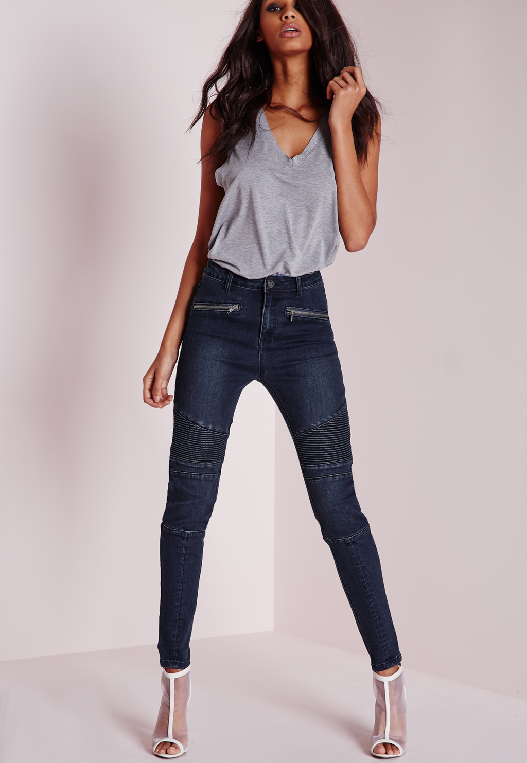Petite High Waisted Skinny Biker Jeans Blue, Blue - style: skinny leg; length: standard; pattern: plain; waist: high rise; pocket detail: traditional 5 pocket; predominant colour: navy; occasions: casual; fibres: cotton - stretch; jeans detail: dark wash; texture group: denim; pattern type: fabric; season: a/w 2015; wardrobe: basic