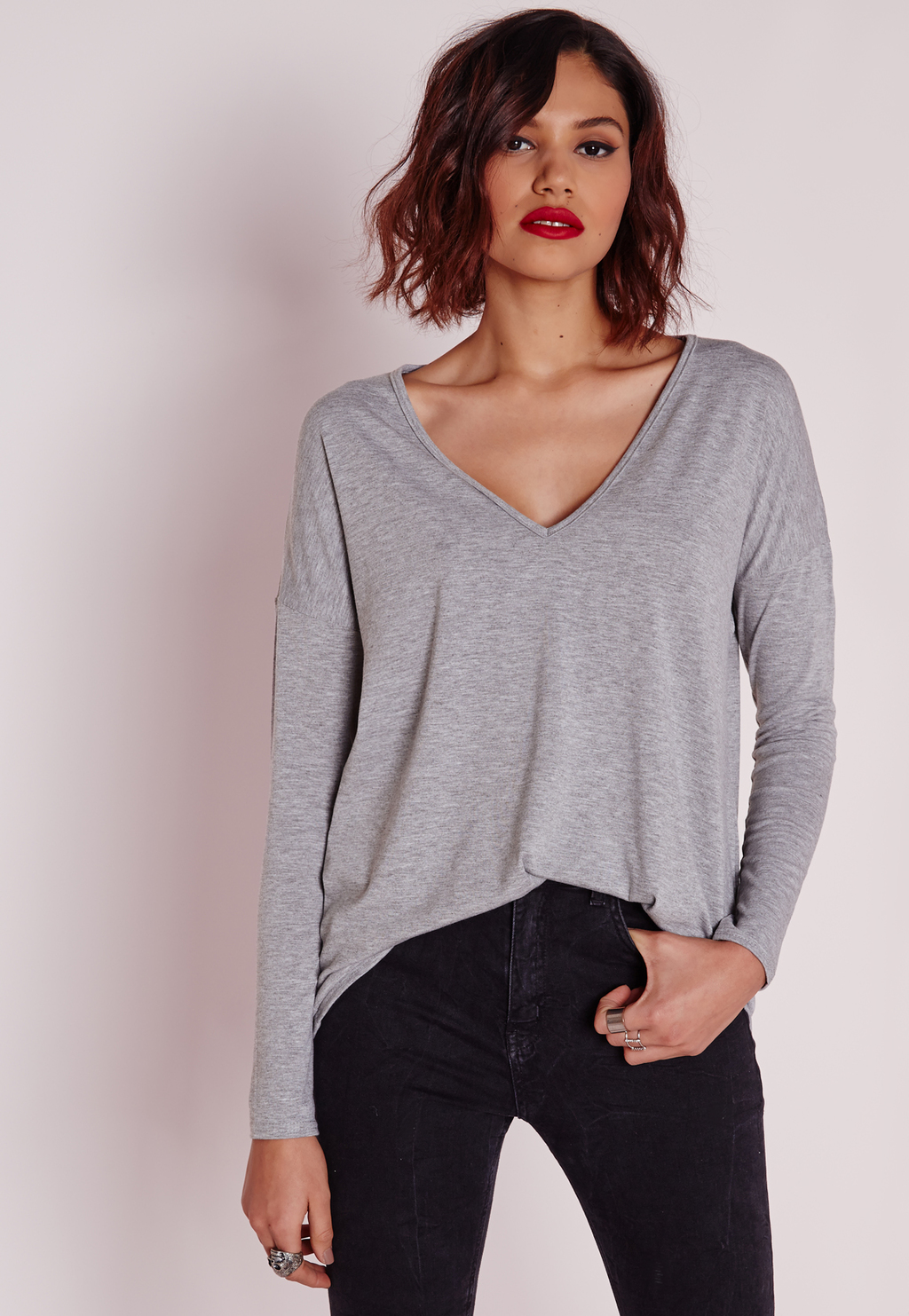 Long Sleeve Boyfriend V Neck T Shirt Grey Marl, Grey - neckline: low v-neck; pattern: plain; style: t-shirt; predominant colour: mid grey; occasions: casual; length: standard; fibres: viscose/rayon - stretch; fit: body skimming; sleeve length: long sleeve; sleeve style: standard; pattern type: fabric; texture group: jersey - stretchy/drapey; season: a/w 2015; wardrobe: basic