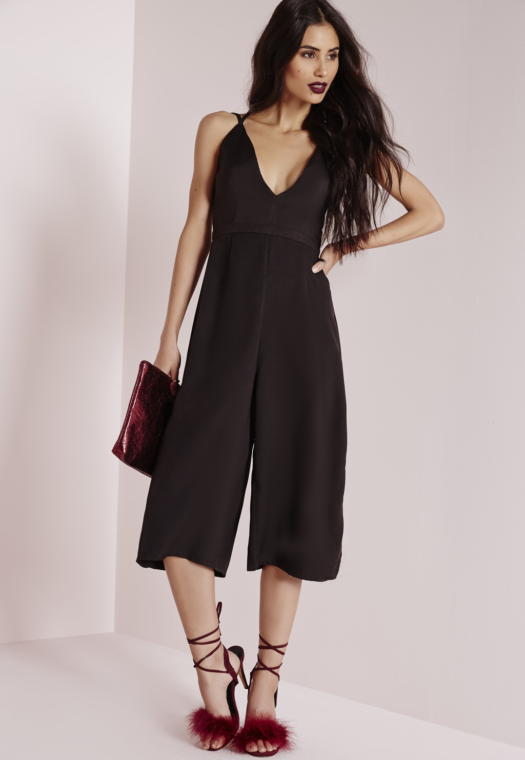 Petite Cross Back Culotte Jumpsuit Black, Black - neckline: low v-neck; sleeve style: spaghetti straps; pattern: plain; predominant colour: black; occasions: evening; length: calf length; fit: fitted at waist & bust; fibres: polyester/polyamide - 100%; back detail: crossover; sleeve length: sleeveless; texture group: crepes; style: jumpsuit; pattern type: fabric; season: a/w 2015; wardrobe: event