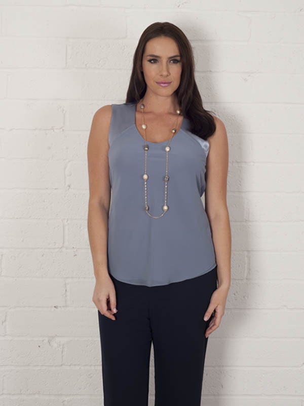 Steel Chiffon Camisole With Jersey Lining - neckline: round neck; pattern: plain; sleeve style: sleeveless; style: camisole; predominant colour: denim; occasions: casual; length: standard; fibres: polyester/polyamide - 100%; fit: body skimming; sleeve length: sleeveless; pattern type: fabric; texture group: jersey - stretchy/drapey; season: a/w 2015