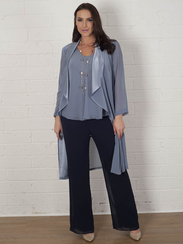 Steel Satin Back Crepe Trim Chiffon Coat - neckline: v-neck; pattern: plain; predominant colour: denim; secondary colour: denim; occasions: evening, occasion; length: standard; style: top; fibres: polyester/polyamide - 100%; fit: straight cut; sleeve length: long sleeve; sleeve style: standard; texture group: sheer fabrics/chiffon/organza etc.; pattern type: fabric; season: a/w 2015; wardrobe: event