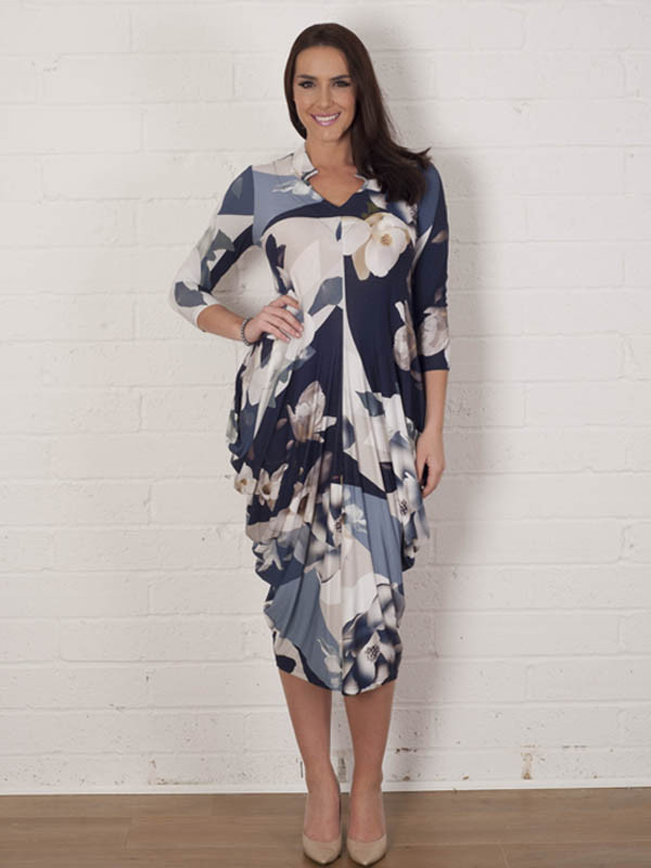 Blue Orchid Print Jersey Drape Dress - style: shift; length: below the knee; neckline: v-neck; predominant colour: navy; secondary colour: stone; fit: body skimming; fibres: polyester/polyamide - stretch; occasions: occasion; hip detail: ruching/gathering at hip; sleeve length: 3/4 length; sleeve style: standard; pattern type: fabric; pattern size: standard; pattern: patterned/print; texture group: jersey - stretchy/drapey; multicoloured: multicoloured; season: a/w 2015; wardrobe: event