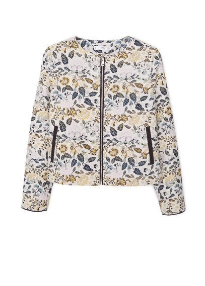 Jacquard Cotton Jacket - collar: round collar/collarless; style: boxy; predominant colour: ivory/cream; occasions: casual, creative work; length: standard; fit: straight cut (boxy); fibres: cotton - 100%; sleeve length: long sleeve; sleeve style: standard; collar break: high; pattern type: fabric; pattern size: standard; pattern: florals; texture group: brocade/jacquard; multicoloured: multicoloured; season: a/w 2015