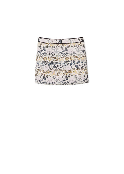 Jacquard Cotton Skirt - length: mini; style: straight; waist: mid/regular rise; predominant colour: blush; occasions: casual, creative work; fibres: cotton - 100%; fit: straight cut; pattern type: fabric; pattern: patterned/print; texture group: brocade/jacquard; pattern size: big & busy (bottom); multicoloured: multicoloured; season: a/w 2015