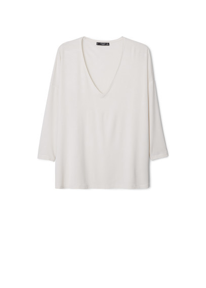 V Neck T Shirt - neckline: low v-neck; pattern: plain; style: t-shirt; predominant colour: ivory/cream; occasions: casual, creative work; length: standard; fibres: viscose/rayon - stretch; fit: loose; sleeve length: 3/4 length; sleeve style: standard; pattern type: fabric; texture group: jersey - stretchy/drapey; season: a/w 2015