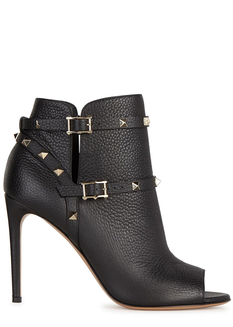 Rockstud 100 Black Leather Ankle Boots - predominant colour: black; material: leather; embellishment: studs; heel: stiletto; toe: open toe/peeptoe; boot length: ankle boot; style: standard; finish: plain; pattern: plain; heel height: very high; occasions: creative work; season: a/w 2015; wardrobe: highlight