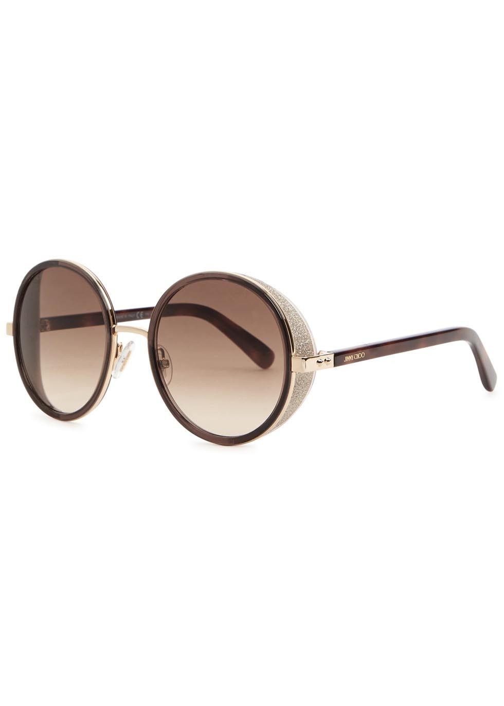 Andie Brown Mirrored Sunglasses - predominant colour: chocolate brown; secondary colour: stone; occasions: casual, holiday; style: round; size: large; material: plastic/rubber; finish: plain; pattern: colourblock; season: a/w 2015