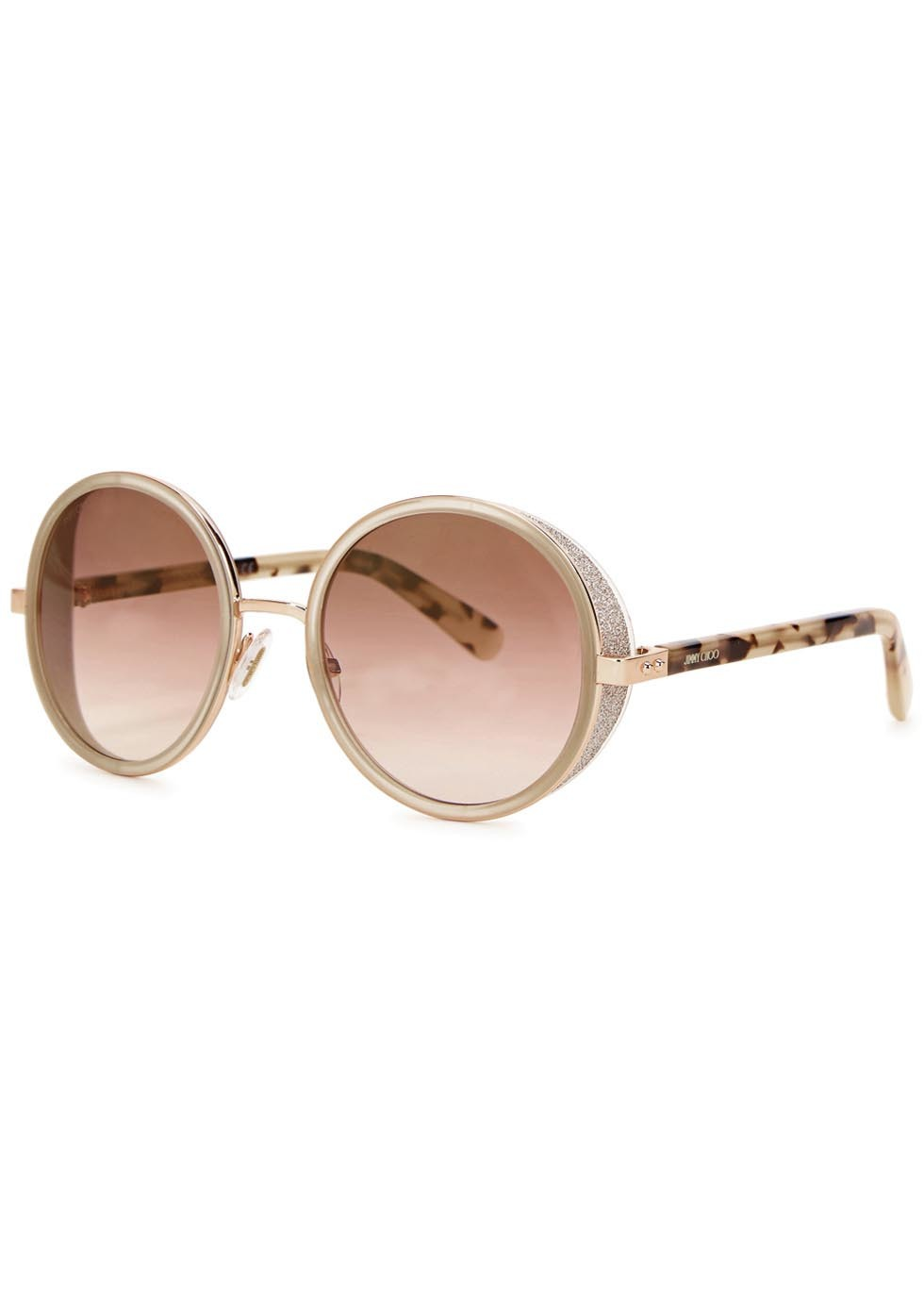 Andie Rose Gold Tone Mirrored Sunglasses - secondary colour: chocolate brown; predominant colour: stone; occasions: casual, holiday; style: round; size: large; material: plastic/rubber; pattern: animal print; finish: plain; season: a/w 2015; wardrobe: highlight