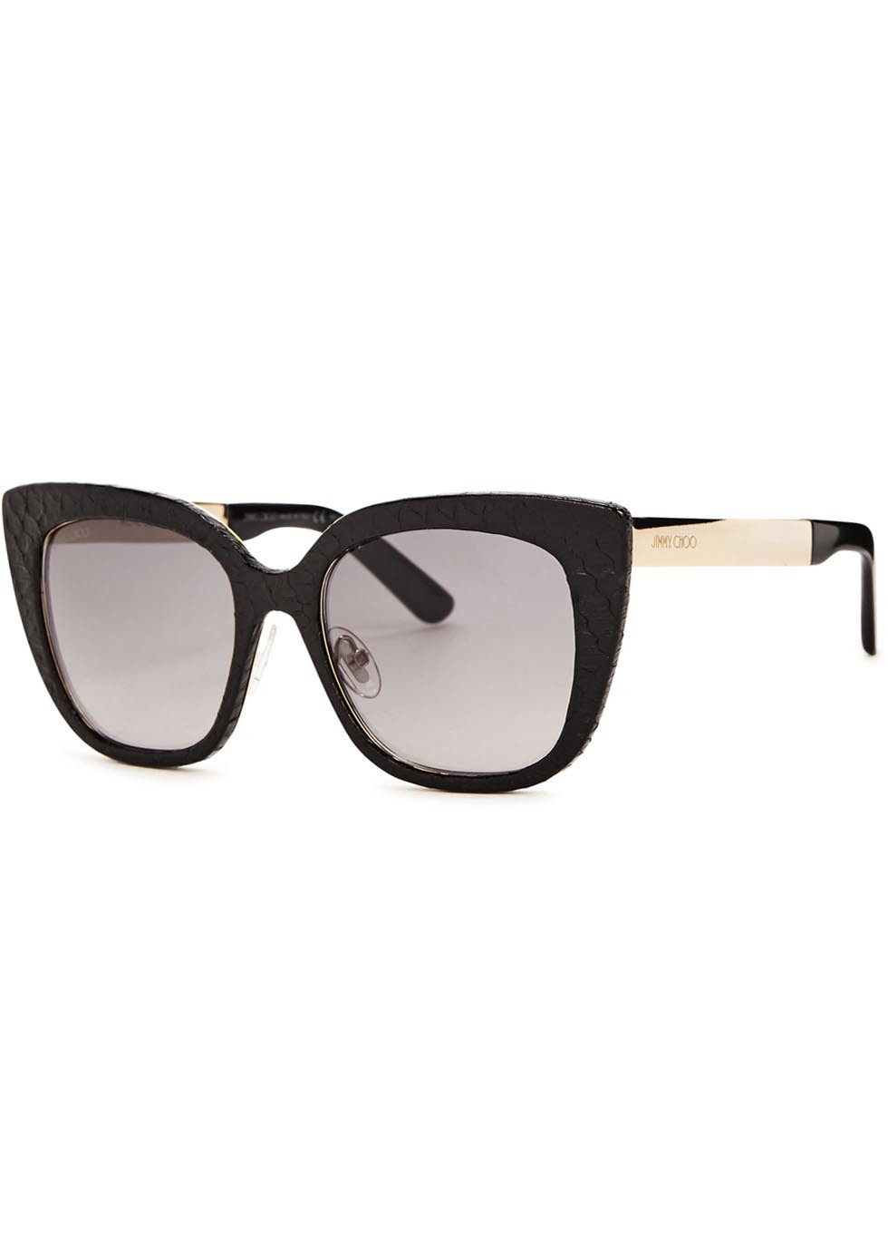 Nita Snake Effect Leather Cat Eye Sunglasses - predominant colour: black; occasions: casual, holiday; style: cateye; size: large; material: plastic/rubber; pattern: animal print; finish: plain; season: a/w 2015; wardrobe: highlight