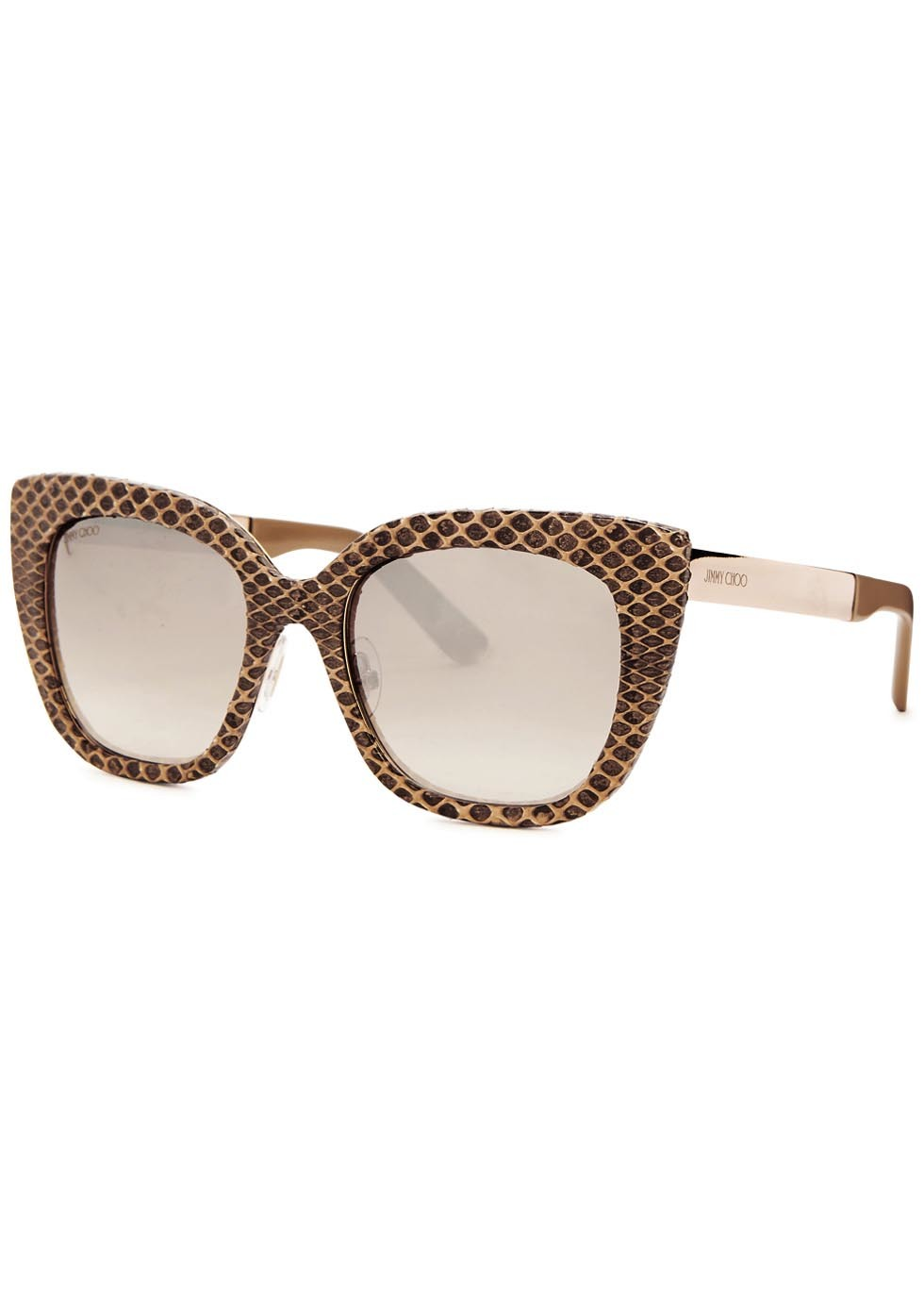 Nita Snake Effect Leather Cat Eye Sunglasses - predominant colour: chocolate brown; occasions: casual, holiday; style: cateye; size: large; material: plastic/rubber; finish: plain; pattern: patterned/print; season: a/w 2015