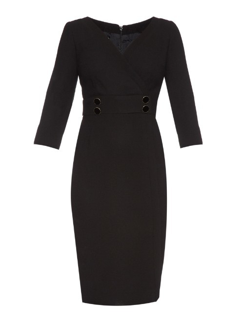 Boudoir V Neck Crepe Dress - style: faux wrap/wrap; neckline: v-neck; fit: tailored/fitted; pattern: plain; predominant colour: black; occasions: evening; length: just above the knee; fibres: wool - 100%; sleeve length: 3/4 length; sleeve style: standard; texture group: crepes; pattern type: fabric; season: a/w 2015; wardrobe: event