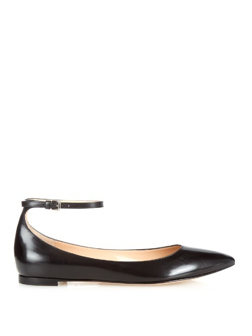 Gia Point Toe Leather Flats - predominant colour: black; occasions: casual, creative work; material: leather; heel height: flat; ankle detail: ankle strap; toe: round toe; style: ballerinas / pumps; finish: patent; pattern: plain; season: a/w 2015