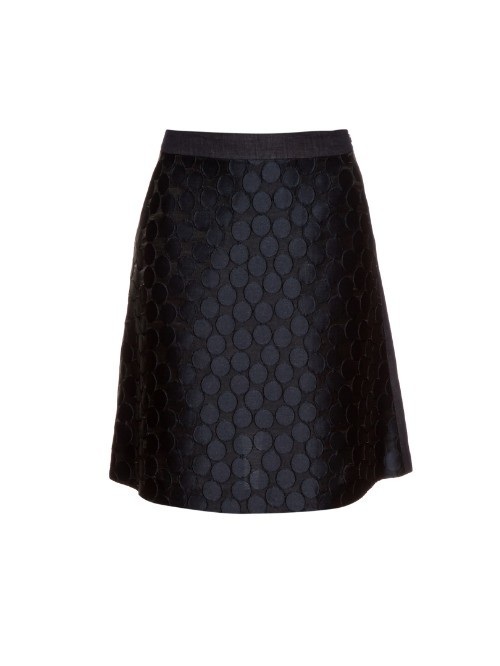 Halle Skirt - length: mid thigh; fit: body skimming; waist: high rise; predominant colour: black; occasions: casual, creative work; style: a-line; fibres: cotton - mix; waist detail: narrow waistband; pattern type: fabric; pattern: patterned/print; texture group: other - light to midweight; pattern size: standard (bottom); season: a/w 2015