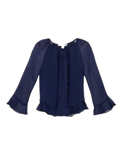 Simonia Blouse - sleeve style: bell sleeve; pattern: plain; style: blouse; predominant colour: navy; occasions: work; length: standard; fibres: polyester/polyamide - 100%; fit: body skimming; neckline: crew; sleeve length: 3/4 length; texture group: sheer fabrics/chiffon/organza etc.; pattern type: fabric; season: a/w 2015; wardrobe: basic