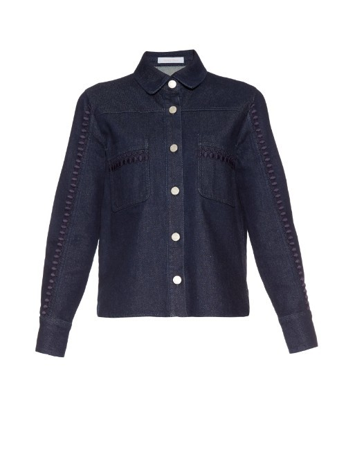 Marcramé Lace Trimmed Denim Shirt - neckline: shirt collar/peter pan/zip with opening; pattern: plain; style: shirt; predominant colour: navy; occasions: casual, creative work; length: standard; fibres: cotton - mix; fit: body skimming; sleeve length: long sleeve; sleeve style: standard; texture group: denim; pattern type: fabric; season: a/w 2015; wardrobe: basic
