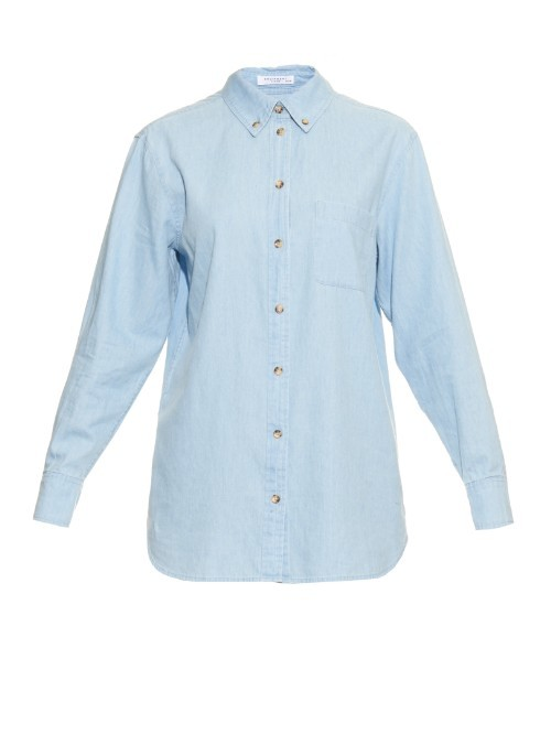 Margaux Denim Shirt - neckline: shirt collar/peter pan/zip with opening; pattern: plain; length: below the bottom; style: shirt; predominant colour: pale blue; occasions: casual, creative work; fibres: cotton - 100%; fit: straight cut; sleeve length: long sleeve; sleeve style: standard; texture group: denim; pattern type: fabric; season: a/w 2015; wardrobe: basic