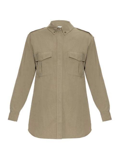 Major Silk Shirt - neckline: shirt collar/peter pan/zip with opening; pattern: plain; style: shirt; predominant colour: khaki; occasions: casual, creative work; length: standard; fibres: silk - 100%; fit: straight cut; sleeve length: long sleeve; sleeve style: standard; texture group: crepes; bust detail: bulky details at bust; pattern type: fabric; season: a/w 2015; wardrobe: basic