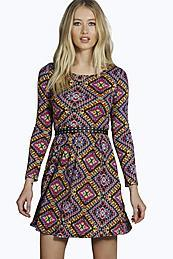 Aztec Print Long Sleeve Dress Multi - length: mid thigh; neckline: round neck; predominant colour: aubergine; secondary colour: khaki; occasions: casual; fit: fitted at waist & bust; style: fit & flare; fibres: polyester/polyamide - 100%; sleeve length: long sleeve; sleeve style: standard; pattern type: fabric; pattern size: standard; pattern: patterned/print; texture group: jersey - stretchy/drapey; multicoloured: multicoloured; season: a/w 2015
