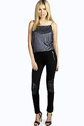 Wet Look Knee Patch Super Skinny Trousers Black - length: standard; pattern: plain; style: leggings; waist: mid/regular rise; predominant colour: black; occasions: evening, creative work; fibres: cotton - stretch; texture group: leather; fit: skinny/tight leg; pattern type: fabric; embellishment: zips; season: a/w 2015