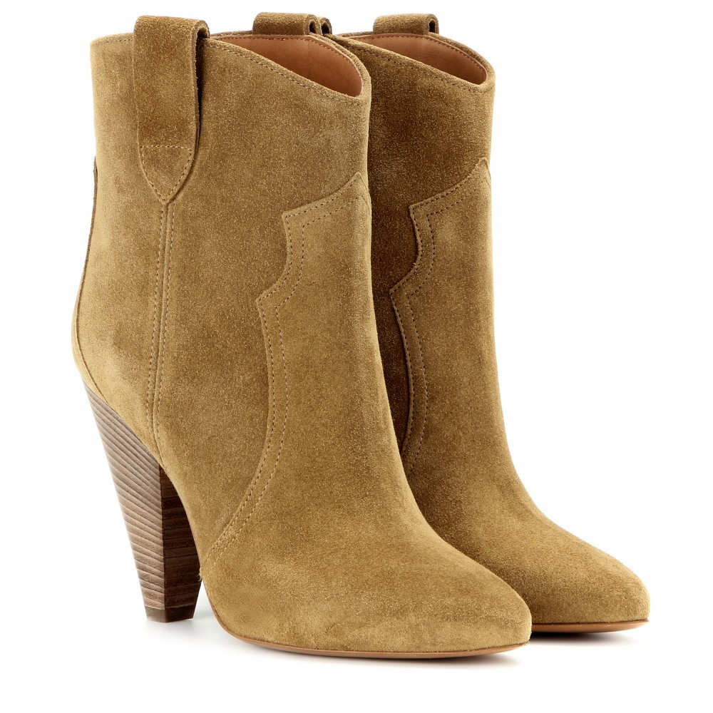 étoile Roxann Suede Boots - predominant colour: tan; occasions: casual, creative work; material: suede; heel height: high; heel: cone; toe: pointed toe; boot length: ankle boot; style: standard; finish: plain; pattern: plain; season: a/w 2015