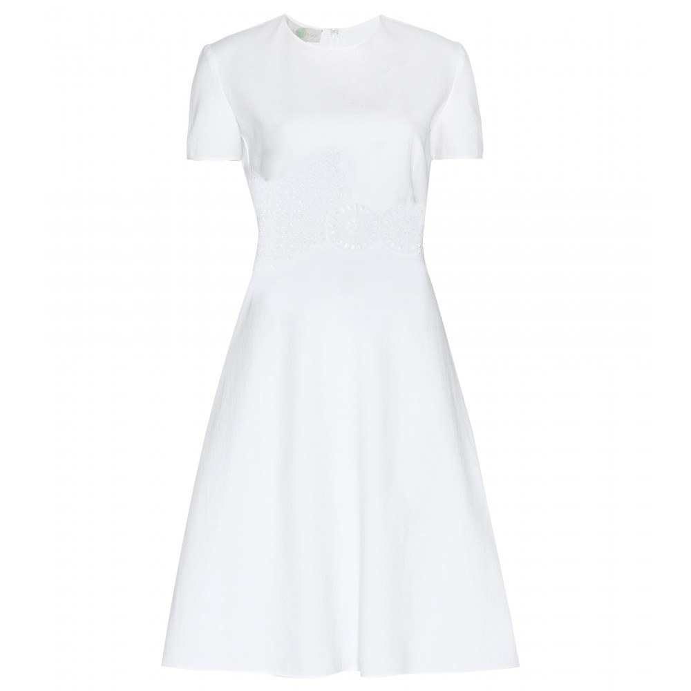 Cotton Dress - style: shift; pattern: plain; predominant colour: white; occasions: evening; length: just above the knee; fit: soft a-line; fibres: cotton - 100%; neckline: crew; sleeve length: short sleeve; sleeve style: standard; pattern type: fabric; texture group: jersey - stretchy/drapey; season: a/w 2015