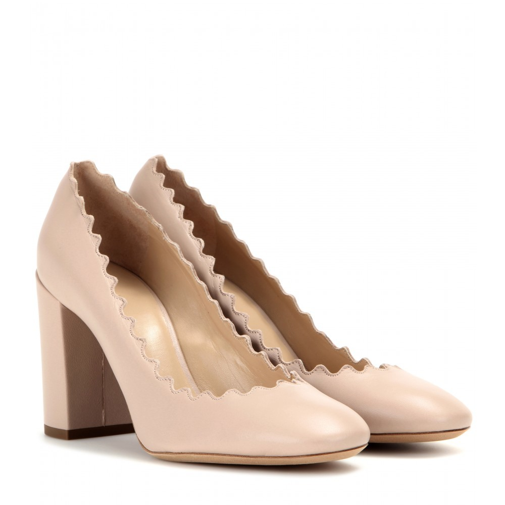 Lauren Leather Pumps - predominant colour: nude; material: leather; heel height: high; heel: block; toe: round toe; style: courts; finish: plain; pattern: plain; occasions: creative work; season: a/w 2015; wardrobe: investment